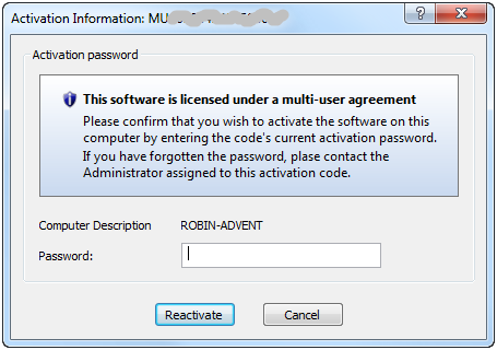 Subsequent activation of a multi-user license